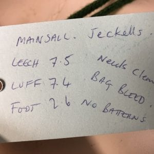 Jeckells Mainsail - Leech 7.5m, Luff 7.4m, Foot 2.6m Product Information Tag