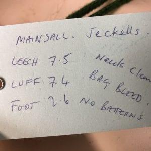 Jeckells Mainsail - Leech 7.5m, Luff 7.4m, Foot 2.6m Product Information Tag