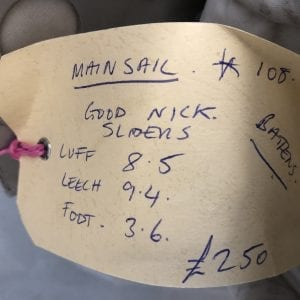 108 Mainsail - Good Condition - Luff 8.5m, Leech 9.4m, Foot 3.6m Product Information Tag