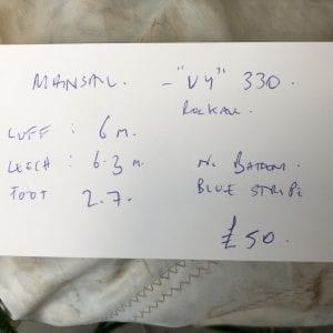 """VY"" 330 Rockall Mainsail, Luff 6m, Leech 6.3m, Foot 2.7m Information Tag"