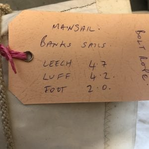 Banks Sail - Mainsail - Leech 4.7m, Luff 4.2m, Foot 2.0m Product Information Tag