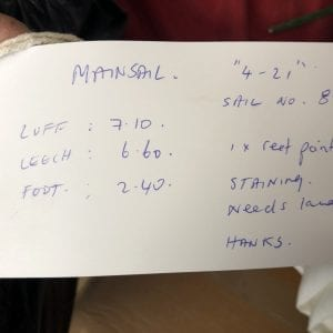 """4-21"" Mainsail - 1 Reef Point - Hanks - Sail no. 85 -Luff 7.1m, Leech 6.6m, Foot 2.4m Product Information Tag"